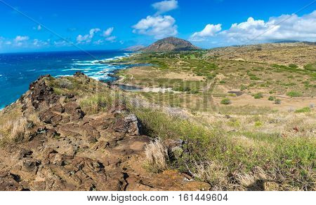 Koko Crater from overlook on Honolulu Hawaii USA