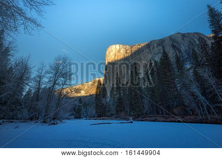 El Capitan in the winter Yosemite National Park