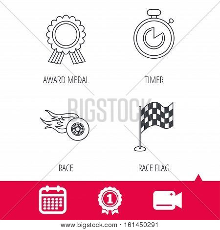 Achievement and video cam signs. Race flag, winner medal and timer icons. Wheel on fire linear sign. Calendar icon. Vector