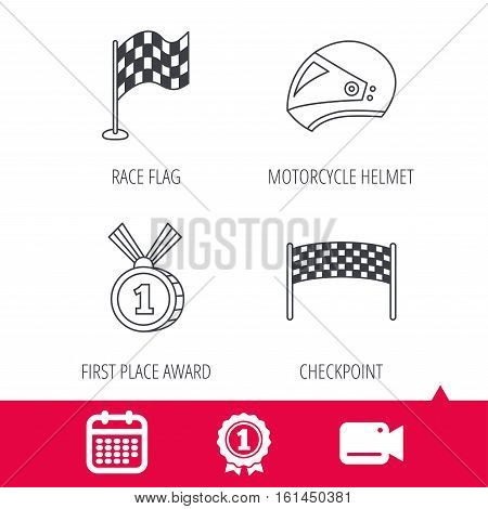 Achievement and video cam signs. Race flag, checkpoint and motorcycle helmet icons. Winner award medal linear signs. Calendar icon. Vector