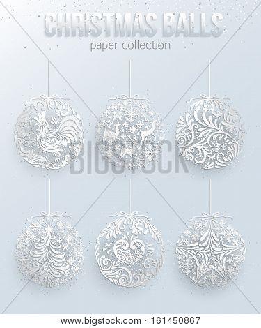 Set of Silver Christmas Balls decoration vector illustration