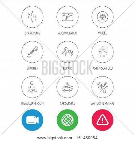 Accumulator, spanner tool and car service icons. Repair toolbox, wheel and spark plug linear signs. Disabled person, battery terminal icons. Video cam, hazard attention and internet globe icons