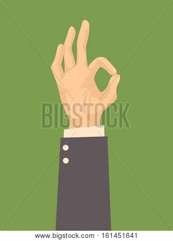 Illustration Featuring the Hand of a Man in a Suit Doing the Okay Sign