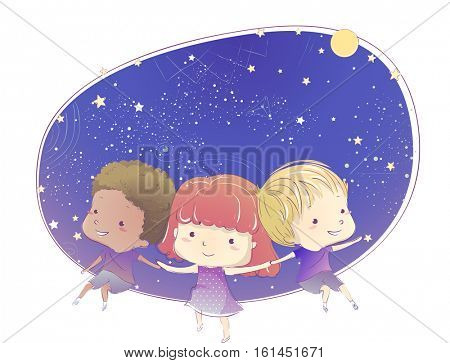 Whimsical Illustration of Cute Little Kids in Indigo Clothing Stargazing Together