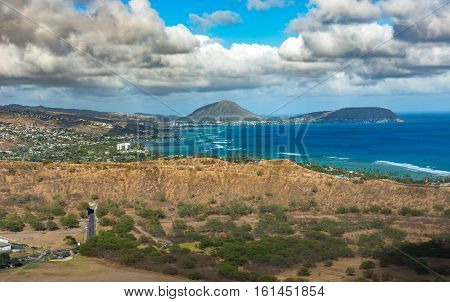 Koko crater from Diamond Head Honolulu, Hawaii USA