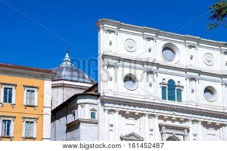 Italy L'Aquila the facade of the St. Bernardino basilica (XV century)