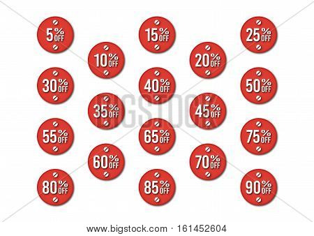 A bundle with isolated vector discount tags in red colors
