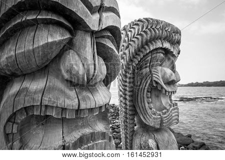 Tiki Statue Traditional Stutue of Hawaiian, Hawaii USA