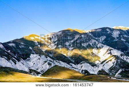 Italy Gran Sasso National Park mountain scenery of the Campo Imperatore plateau poster
