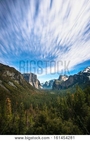 Long exposure and moving cloudy at Tunnel View Yosemite National Park