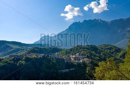 Italy view of the country of Castelli in the Gran Sasso national park