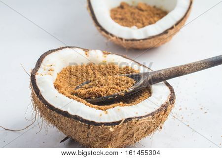 Coconut Sugar on white background. Low Glycemic Index