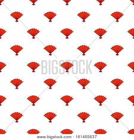 Red open hand fan pattern. Cartoon illustration of red open hand fan vector pattern for web