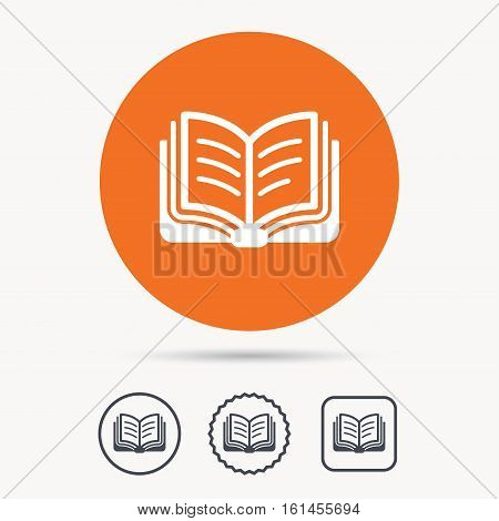 Book icon. Study literature sign. Education textbook symbol. Orange circle button with web icon. Star and square design. Vector