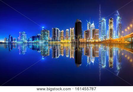 Panoramic view of Business bay of Dubai, UAE