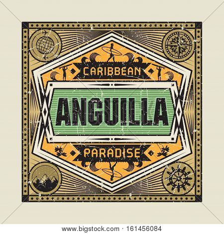 Stamp badge or vintage emblem with text Anguilla Caribbean Paradise vector illustration