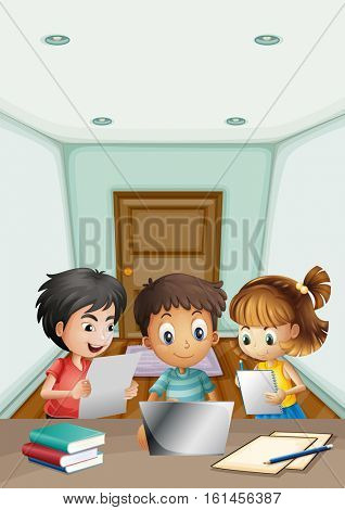 Kids working in group in the room illustration