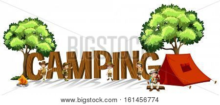 Font design for word camping with kids and tent illustration