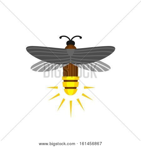 Firefly isolated cartoon vector logo. Firefly bug flying with light rump icon.