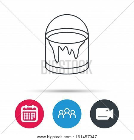Bucket of paint icon. Painting box sign. Group of people, video cam and calendar icons. Vector