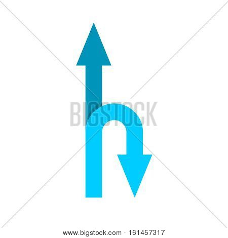 Two headed arrow forward and back right u-turn directions
