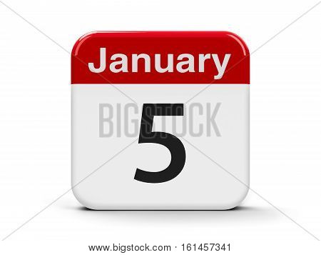 Calendar web button - The Fifth of January three-dimensional rendering 3D illustration