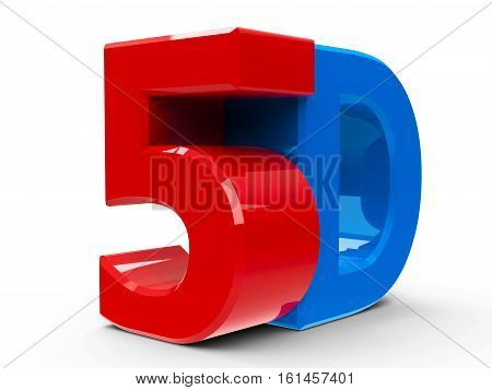 Red and blue 5D text symbol icon or button isolated on white background three-dimensional rendering 3D illustration