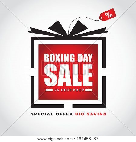 Boxing Day sale template design. Symbol icon of gift box & price tag isolated on white. Vector illustration.