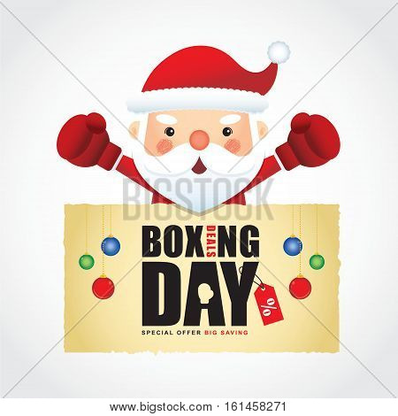 Happy Boxing Day. Cute santa claus wearing boxing gloves with boxing day sale calligraphic isolated on white. Vector illustration of boxing day sale.