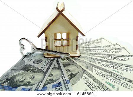 house model dollar cash money key real estate concept