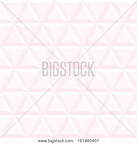Seamless vector background with light pink volume triangles. Modern ornament with volume repeating shapes. Geometric pattern