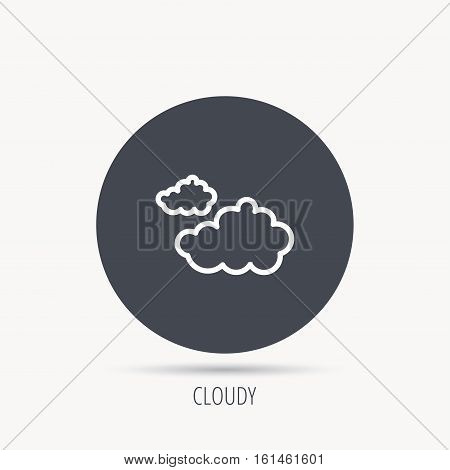 Cloudy icon. Overcast weather sign. Meteorology symbol. Round web button with flat icon. Vector