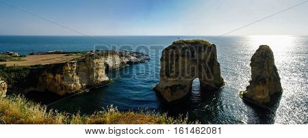 Panorama View to Raouche or Pigeon Rock Beirut Lebanon
