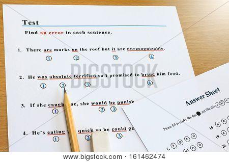 english grammar multiple choice test to find an error in each sentence
