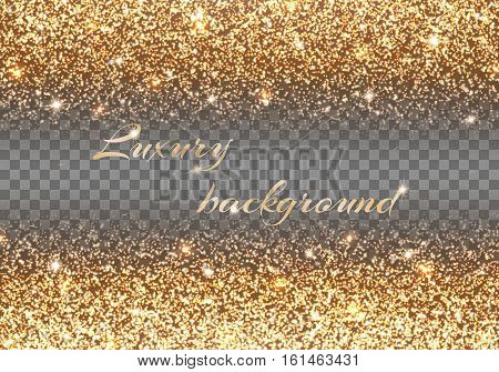 Bling background. New year celebration. Gold lights. Christmas ornaments. Vector decoration.
