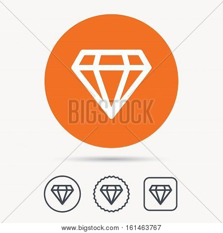 Diamond icon. Jewelry gem symbol. Brilliant jewel sign. Orange circle button with web icon. Star and square design. Vector