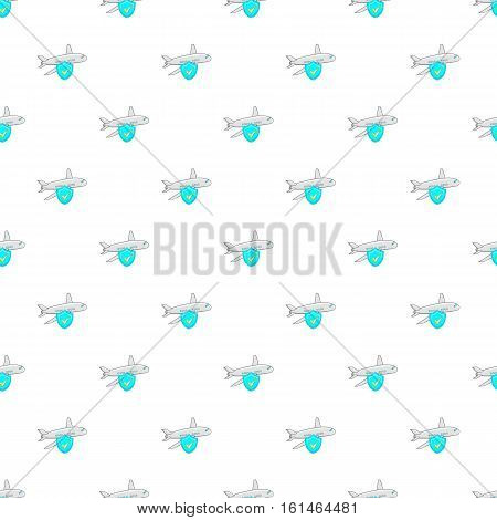 Aircraft and sky blue shield pattern. Cartoon illustration of aircraft and sky blue shield vector pattern for web
