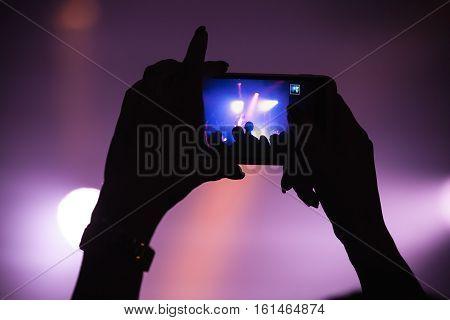 Taking Photo On Smartphone, Night Show