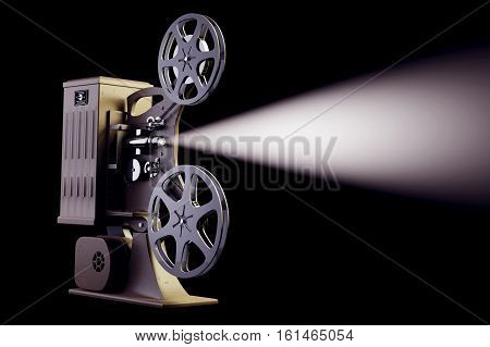3D illustration of retro film projector with light beam on black frontal