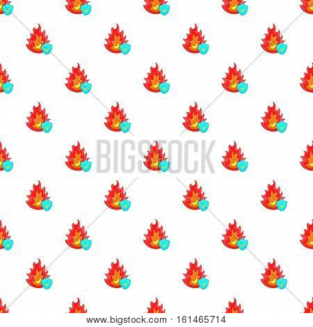 Fire and sky blue shield with tick pattern. Cartoon illustration of fire and sky blue shield with tick vector pattern for web