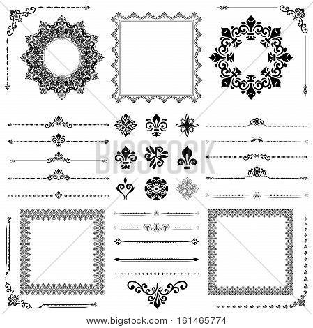 Vintage set of classic black elements. Different vector elements for decoration and design frames, cards, menus, backgrounds and monograms. Classic patterns. Set of vintage patterns