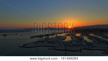 cloudy sunset on  port of peiraeus from above