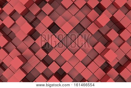Abstract image of cubes background in red toned. 3d illustration.