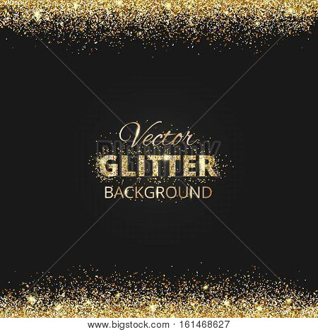 Black and gold background with glitter frame and space for text. Vector glitter frame, golden dust. Great for christmas and birthday cards, wedding invitation, party posters and flyers.