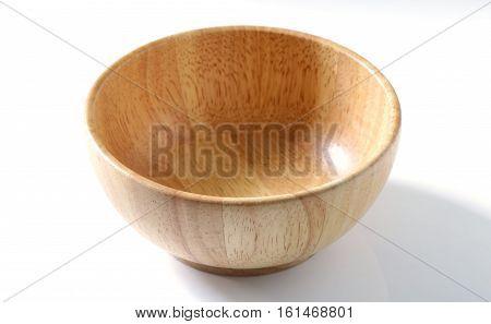 brown light woodden bowl on white background
