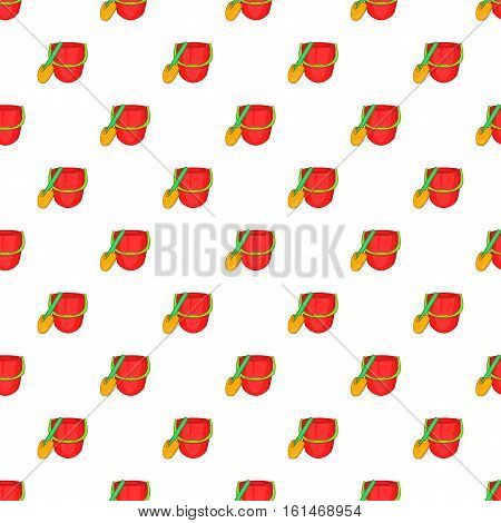 Red bucket and green shovel pattern. Cartoon illustration of red bucket and green shovel vector pattern for web