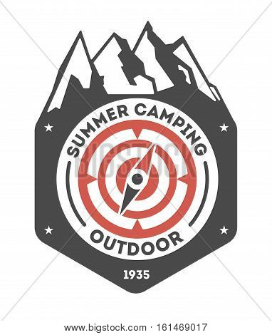 Adventure outdoor vintage isolated label vector illustration. Summer camping symbols. Mountain explorer icon. Wild life concept. Hiking logo. Mountains camping logo on white background. Camping logo and camping icon isolated. Outdoor logo badge.