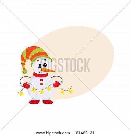 Cute and funny little snowman holding garland, cartoon vector illustration isolated with background for text. Funny snowman in hat and mittens with Christmas lights, holiday season decoration element