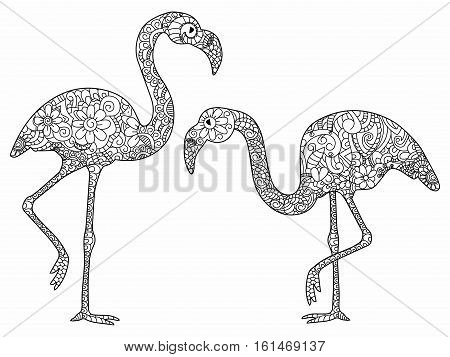 Two flamingos book for adults vector illustration. Anti-stress coloring for adult bird. Zentangle style. Black and white lines. Lace pattern
