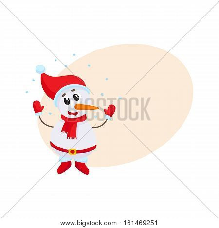 Cute funny little snowman under falling snow, cartoon vector illustration isolated with background for text. Funny snowman in hat and mittens happy with snowfall, Christmas season decoration element